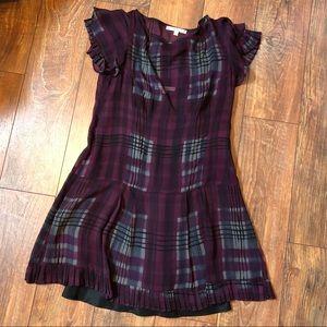 Nanette Lepore plum plaid dress with slip size 2